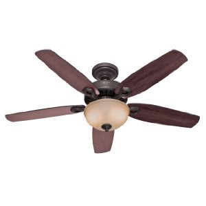 Hunter 21810 Builder Deluxe 52-Inch 5-Blade Single Light Ceiling Fan, New Bronze with Brazilian