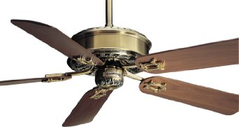 "54"" Victorian 5 Blade Ceiling Fan with Wall Control Motor FInish: Antique Brass"