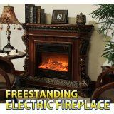 "Black 30"" Freestanding Electric Fireplace Heater"