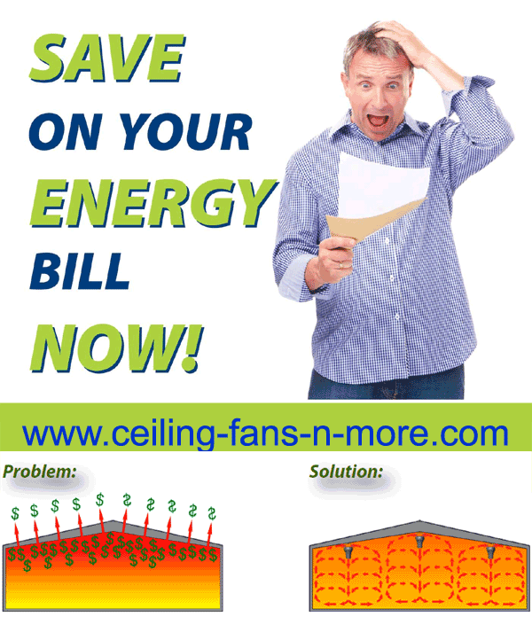 Save energy bill by ceiling fan